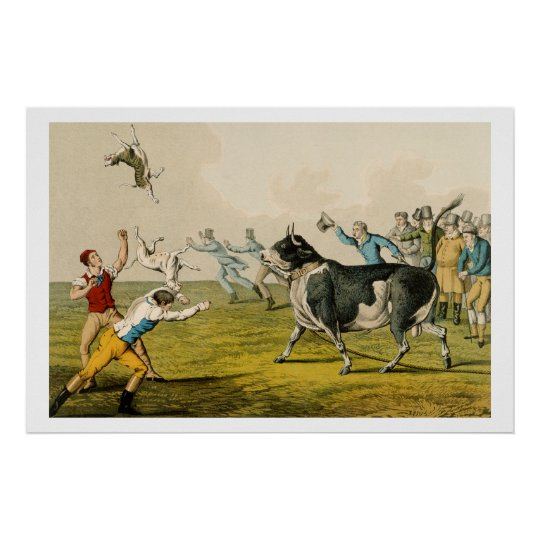 'Bull Baiting', pub. by Thomas McLean, 1820, (prin Poster