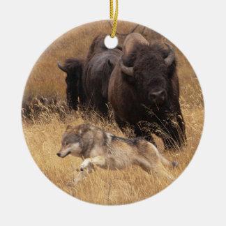Bull Bison, Female, & Wolf Christmas Ornament