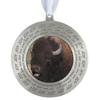 bull bison grunting round ornament