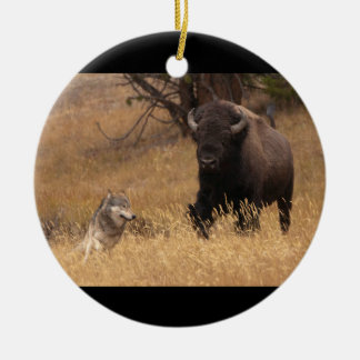 Bull Bison & Wolf Christmas Ornament