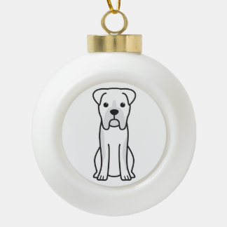Bull Boxer Dog Cartoon Ceramic Ball Christmas Ornament