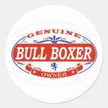 Bull Boxer Round Sticker