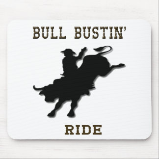 """Bull Bustin' Ride"" Western Rodeo Mousepad"