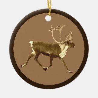 Bull Caribou - Sepia Christmas Ornament