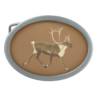 Bull Caribou - Sepia Oval Belt Buckles