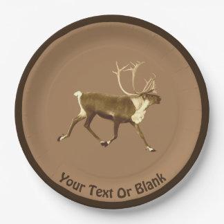 Bull Caribou - Sepia Paper Plate
