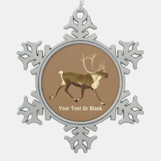 Bull Caribou - Sepia Snowflake Pewter Christmas Ornament