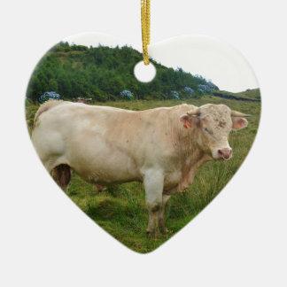 Bull Ceramic Heart Decoration