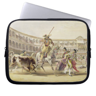 Bull Charging a Picador, 1865 (colour litho) Laptop Sleeve