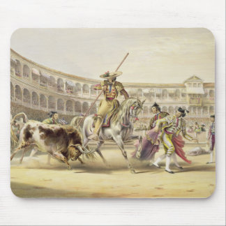 Bull Charging a Picador, 1865 (colour litho) Mouse Mat