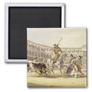 Bull Charging a Picador, 1865 (colour litho) Square Magnet
