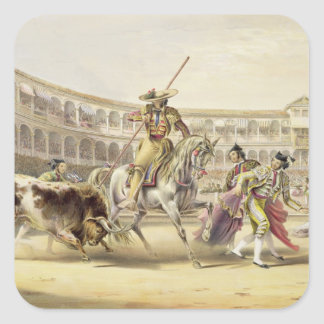 Bull Charging a Picador, 1865 (colour litho) Square Sticker