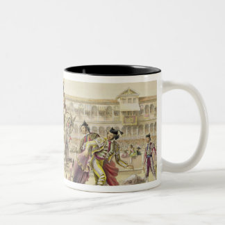 Bull Charging a Picador, 1865 (colour litho) Two-Tone Coffee Mug