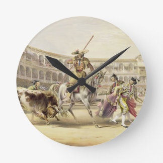 Bull Charging a Picador, 1865 (colour litho) Wallclocks