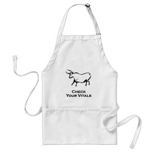 Bull Check Your Vitals Black Aprons