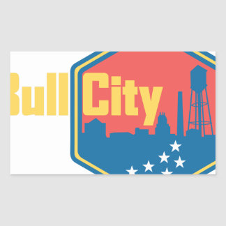 Bull City NC Rectangular Sticker