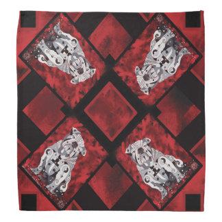 Bull Dog Bandanna, Red, White, Black Contemporary Bandana