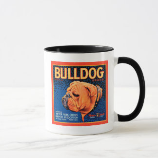 Bull Dog on a Blue Background Mug