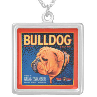 Bull Dog on a Blue Background Silver Plated Necklace