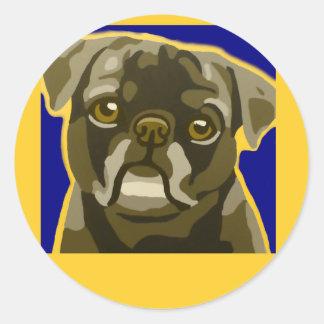 Bull Dog Pop Art Add Pets Name Customize Round Sticker