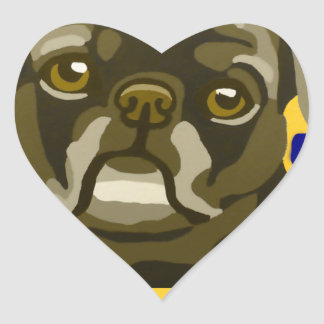 Bull Dog Pop Art Add Pets Name Customize Heart Stickers
