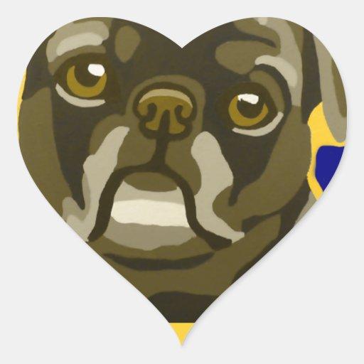 Bull Dog Pop Art Add Pets Name Customize Heart Stickers