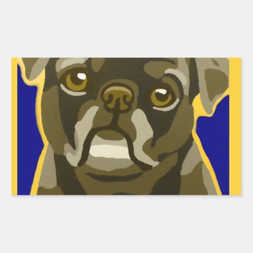 Bull Dog Pop Art Add Pets Name Customize Rectangle Stickers