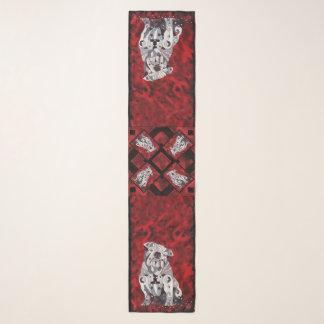 Bull Dog Scarf, Red, White, Black Contemporary GA Scarf