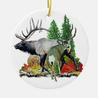 Bull elk  buck deer christmas ornament