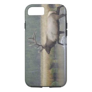 Bull Elk crossing river in snowstorm, iPhone 8/7 Case