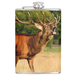 Bull elk in rut hip flask