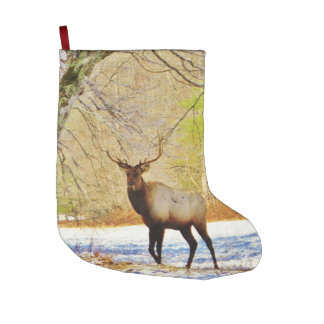 Bull elk in Snow Large Christmas Stocking