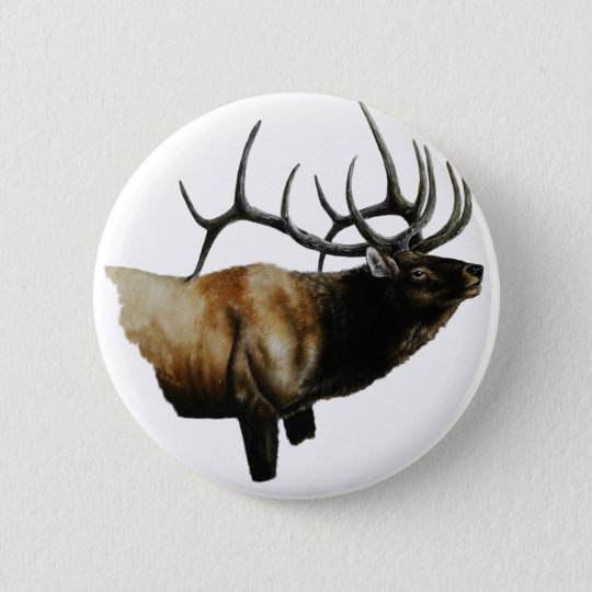 Bull Elk Painting on customisable products 6 Cm Round Badge