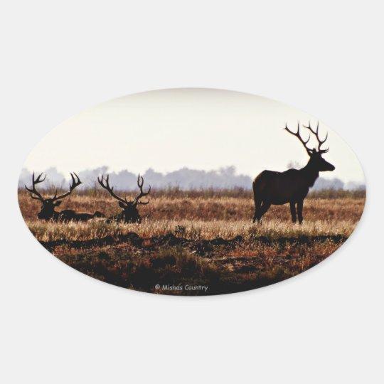 Bull Elk Silhouette Oval Sticker