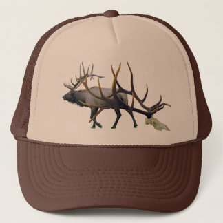 Bull elk skull make your own trucker hat