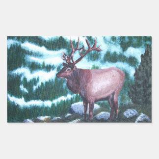 Bull Elk Rectangle Stickers