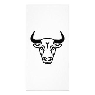 Bull head horns customised photo card