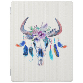 Bull Head Skull And Flowers iPad Cover