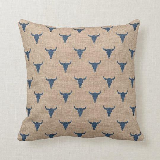 Bull Horns Pattern Pillow Denim Blue