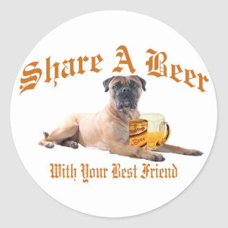 Bull Mastiff Shares A Beer Stickers