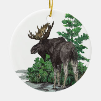 Bull moose art.2 sided christmas ornament