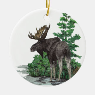 Bull moose art christmas ornament