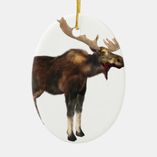 Bull Moose Looking Left Ceramic Oval Decoration