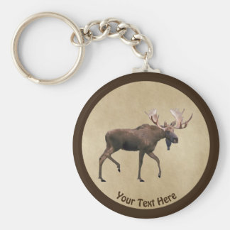 Bull Moose On Old Paper Key Ring