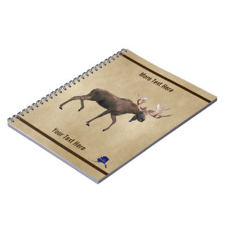 Bull Moose On Old Paper Notebook