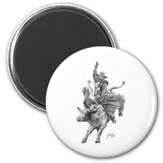 Bull Rider 6 Cm Round Magnet