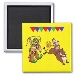 Bull Rider and Rodeo Clown Cartoon Square Magnet