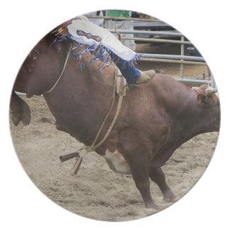 Bull rider at rodeo party plates