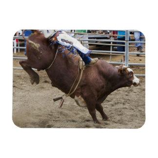 Bull rider at rodeo rectangular photo magnet
