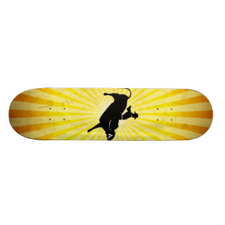 Bull Rider Silhouette; yellow Skateboard Deck
